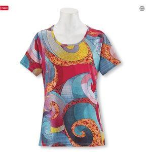 NWT  Stunning!!! Artful Swirls Round Neck Top